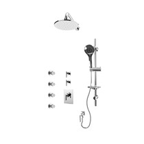 "Rubi Gabriella 3/4"" Thermostatic Shower Kit with Standard Stop Valve, Round Sliding Bar with Hand Shower, Round Shower Head, Vertical Shower Arm, Stop Valve with Water Outlet, and Body Jets Chrome"