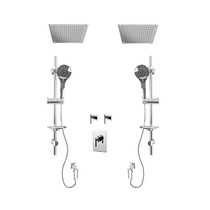 "Rubi Gabriella 3/4"" Thermostatic Shower Kit with Standard Stop Valve, Double Round Sliding Bar with Hand Shower, Double Built-in Shower Head, and Stop Valve with Water Outlet Chrome"