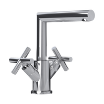 Rubi Gael Washbasin Faucet with Cross Handles with Drain Chrome