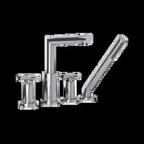 Rubi Gael Four-Piece Bathtub Faucet with Cross Handles Chrome