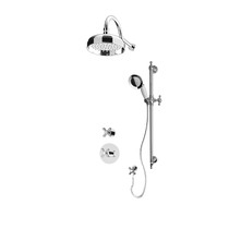 "Rubi Jade 3/4"" Thermostatic Shower Kit with Standard Stop Valve, Antique Sliding Bar with Hand Shower, Round Shower Head, Horizontal Shower Arm, and Stop Valve with Water Outlet Chrome"