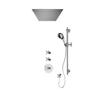 """Rubi Jade 3/4"""" Thermostatic Shower Kit with Standard Stop Valve, Antique Sliding Bar with Hand Shower, Built-in Shower Head, and Stop Valve with Water Outlet Chrome"""