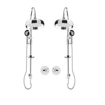 """Rubi Jade 3/4"""" Thermostatic Shower Kit with Double Shower Column with Sliding Shower Bar, Hand Shower and Antique Shower Head Chrome"""