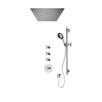 """Rubi Jade 3/4"""" Thermostatic Shower Kit with Standard Stop Valve, Antique Sliding Bar with Hand Shower, Built-in Shower Head with Two-Zone Control, and Stop Valve with Water Outlet Chrome"""