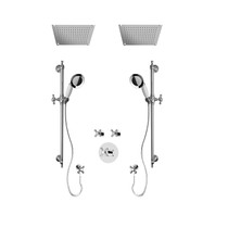"""Rubi Jade 3/4"""" Thermostatic Shower Kit with Standard Stop Valve, Double Antique Sliding Bar with Hand Shower, Double Built-in Shower Head, and Stop Valve with Water Outlet Chrome"""