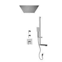 """Rubi Jawa 3/4"""" Thermostatic Shower Kit with Standard Stop Valve, Square Sliding Bar with Hand Shower, Built-in Shower Head, and Stop Valve with Water Outlet Chrome"""