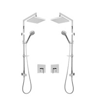 """Rubi Jawa 3/4"""" Thermostatic Shower Kit with Double Shower Column with Sliding Shower Bar, Hand Shower and Square Shower Head Chrome"""