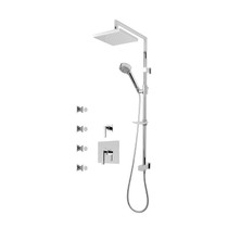 "Rubi Jawa 3/4"" Thermostatic Shower Kit with Standard Stop Valve, Shower Column with Sliding Shower Bar, Hand Shower and Square Shower Head, and Body Jets Chrome"