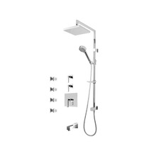 "Rubi Jawa 3/4"" Thermostatic Shower Kit with Standard Stop Valve, Shower Column with Sliding Shower Bad, Hand Shower and Square Shower Head, Body Jets, and Wall Mounted Bathtub Spout Chrome"