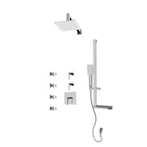 "Rubi Jawa 3/4"" Thermostatic Shower Kit with Standard Stop Valve, Square Sliding Bar with Hand Shower, Square Shower Head, Horizontal Shower Arm, Stop Valve with Water Outlet, and Body Jets Chrome"