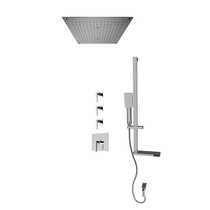 """Rubi Jawa 3/4"""" Thermostatic Shower Kit with Standard Stop Valve, Square Sliding Bar with Hand Shower, Built-in Shower Head with Two-Zone Control, and Stop Valve with Water Outlet Chrome"""