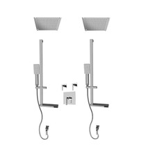 "Rubi Jawa 3/4"" Thermostatic Shower Kit with Standard Stop Valve, Double Square Sliding Bar with Hand Shower, Double Built-in Shower Head, and Stop Valve with Water Outlet Chrome"