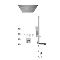 """Rubi Jawa 3/4"""" Thermostatic Shower Kit with Standard Stop Valve, Square Sliding Bar with Hand Shower, Built-in Shower Head, Stop Valve with Water Outlet, and Body Jets Chrome"""