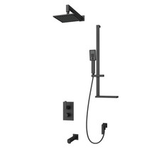 "Rubi Kali 1/2"" Thermostatic Shower Kit with Square Sliding Bar with Hand Shower, Square Shower Head, Horizontal Shower Arm, and Wall Mounted Bathtub Spout Black"