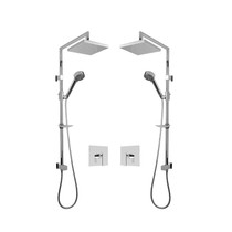 """Rubi Kali 3/4"""" Thermostatic Shower Kit with Double Shower Column with Sliding Shower Bar, Hand Shower and Square Shower Head Chrome"""