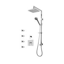 "Rubi Kali 3/4"" Thermostatic Shower Kit with Standard Stop Valve, Shower Column with Sliding Shower Bar, Hand Shower and Square Shower Head, and Body Jets Chrome"