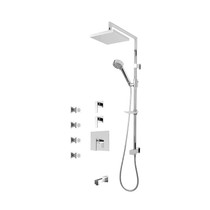 "Rubi Kali 3/4"" Thermostatic Shower Kit with Standard Stop Valve, Shower Column with Sliding Shower Bar, Hand Shower and Square Shower Head, Body Jets, and Wall Mounted Bathtub Spout Chrome"