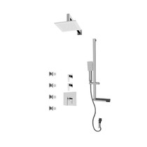 "Rubi Kali 3/4"" Thermostatic Shower Kit with Standard Stop Valve, Square Sliding Bar with Hand Shower, Square Shower Head, Vertical Shower Arm, Stop Valve with Water Outlet, and Body Jets Chrome"