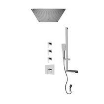 """Rubi Kali 3/4"""" Thermostatic Shower Kit with Standard Stop Valve, Square Sliding Bar with Hand Shower, Built-in Shower Head with Two-Zone Control, and Stop Valve with Water Outlet Chrome"""