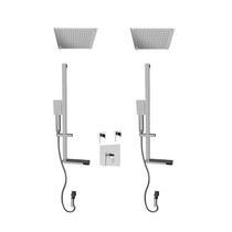 """Rubi Kali 3/4"""" Thermostatic Shower Kit with Standard Stop Valve, Double Square Sliding Bar with Hand Shower, Double Built-in Shower Head, and Stop Valve with Water Outlet Chrome"""