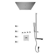 """Rubi Kali 3/4"""" Thermostatic Shower Kit with Standard Stop Valve, Square Sliding Bar with Hand Shower, Built-in Shower Head, Stop Valve with Water Outlet, and Body Jets Chrome"""