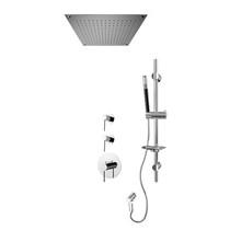 "Rubi Kronos 3/4"" Thermostatic Shower Kit with Standard Stop Valve, Round Sliding Bar with Hand Shower, Built-in Shower Head, and Stop Valve with Water Outlet Chrome"