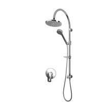 Rubi Myrto Pressure Balanced Shower Kit with Shower Column with Sliding Shower Bar, Hand Shower and Square Shower Head Chrome