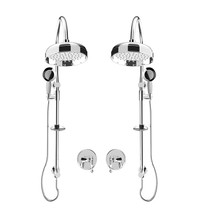 """Rubi Qabil 3/4"""" Thermostatic Shower Kit with Double Shower Column with Sliding Shower Bar, Hand Shower and Antique Shower Head Chrome"""