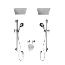"""Rubi Qabil 3/4"""" Thermostatic Shower Kit with Standard Stop Valve, Double Antique Sliding Bar with Hand Shower, Double Built-in Shower Head, and Stop Valve with Water Outlet Chrome"""