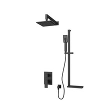 Rubi Quatro Pressure Balanced Shower Kit with Square Sliding Bar with Hand Shower, Square Shower Head, Horizontal Shower Arm, and Square Elbow Connector with Water Outlet Black