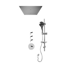 """Rubi Vertigo 3/4"""" Thermostatic Shower Kit with Standard Stop Valve, Round Sliding Bar with Hand Shower, Built-in Shower Head with Two Zone Control, and Stop Valve with Water Outlet Chrome"""
