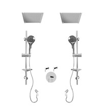 """Rubi Vertigo 3/4"""" Thermostatic Shower Kit with Standard Stop Valve, Double Round Sliding Bar with Hand Shower, Double Built-in Shower Head, and Stop Valve with Water Outlet Chrome"""
