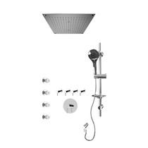 """Rubi Vertigo 3/4"""" Thermostatic Shower Kit with Standard Stop Valve, Round Sliding Bar with Hand Shower, Built-in Shower Head with Two Zone Control, Stop Valve with Water Outlet, and Body Jets Chrome"""