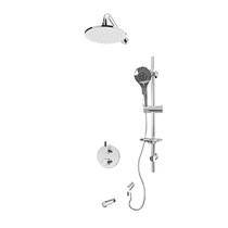 """Rubi Vertigo C 1/2"""" Thermostatic Shower Kit with Round Sliding Bar with Hand Shower, Round Shower Head, Vertical Shower Arm, Stop Valve with Water Outlet, and Wall Mounted Bathtub Spout Chrome"""