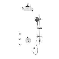 """Rubi Vertigo C 1/2"""" Thermostatic Shower Kit with Round Sliding Bar with Hand Shower, Round Shower Head, Horizontal Shower Arm, Stop Valve with Water Outlet, and Body Jets Chrome"""