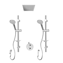 """Rubi Vertigo C 1/2"""" Thermostatic Shower Kit with Double Sliding Bar with Hand Shower, Built-in Shower Head, Round Elbow Connector with Water Outlet, and Stop Valve with Water Outlet Chrome"""