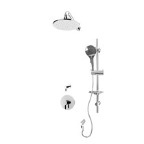 "Rubi Vertigo C 3/4"" Thermostatic Shower Kit with Standard Stop Valve, Round Sliding Bar with Hand Shower, Round Shower Head, Horizontal Shower Arm, and Stop Valve with Water Outlet Chrome"
