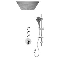 """Rubi Vertigo C 3/4"""" Thermostatic Shower Kit with Standard Stop Valve, Round Sliding Bar with Hand Shower, Built-in Shower Head with Two Zone Control, and Stop Valve with Water Outlet Chrome"""