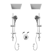 """Rubi Vertigo C 3/4"""" Thermostatic Shower Kit with Standard Stop Valve, Double Round Sliding Bar with Hand Shower, Double Built-in Shower Head, and Stop Valve with Water Outlet Chrome"""