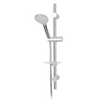 Rubi Emma Round Sliding Shower Bar Kit with Five Jets Hand Shower Brushed Nickel
