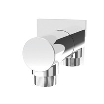 Rubi Round Wall Mounted Elbow Connector with Square Trim Chrome