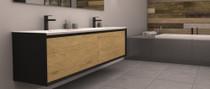 "Rubi Terra 74 1/2"" Two Drawers Washbasin Cabinet Matte Black Cabinet and Oak Facade"