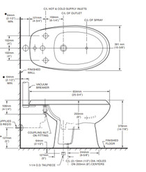 American Standard Cadet Bidet for Deck Mounted Fittings Bone