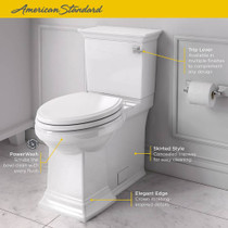 American Standard Town Square S Right Height Elongated One-Piece Toilet with Right Hand Trip Lever and Seat White