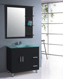 "36"" Bathroom Vanity Mirror with Shelves Espresso"