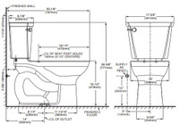 """American Standard Cadet PRO Compact Right Height Elongated 14"""" Rough-In 1.28 gpf Toilet Bone"""