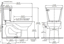 American Standard Cadet PRO Compact Right Height Elongated 14 Inch Rough-In 1.6 gpf Toilet Bone