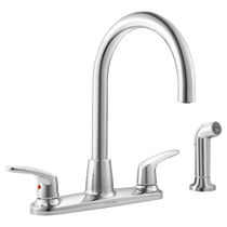 American Standard Colony Pro Two-Handle Kitchen Faucet with High-Arc Swivel Spout Polished Chrome