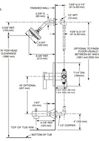 American Standard Boulevard Water-Saving Pressure Balance Bath Shower Trim Brushed Nickel