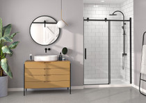 "Zitta Bellini 60"" x 78-3/4"" Alcove Sliding Shower Door Reversible With Fixed Panel Matte Black"